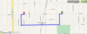Location of the burglary on a map.  Source Mapquest.com 5/2/2014, 8:15pm ct