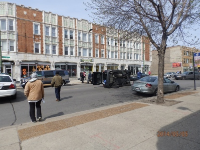 Car Flipped on its side at 79th and Ingleside, May 5,2014, Photos from top of 3 pm hour