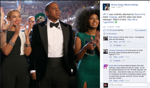 Rickey Smiley show posted Beyonce, Jay-Z, Solange Photo to Facebook