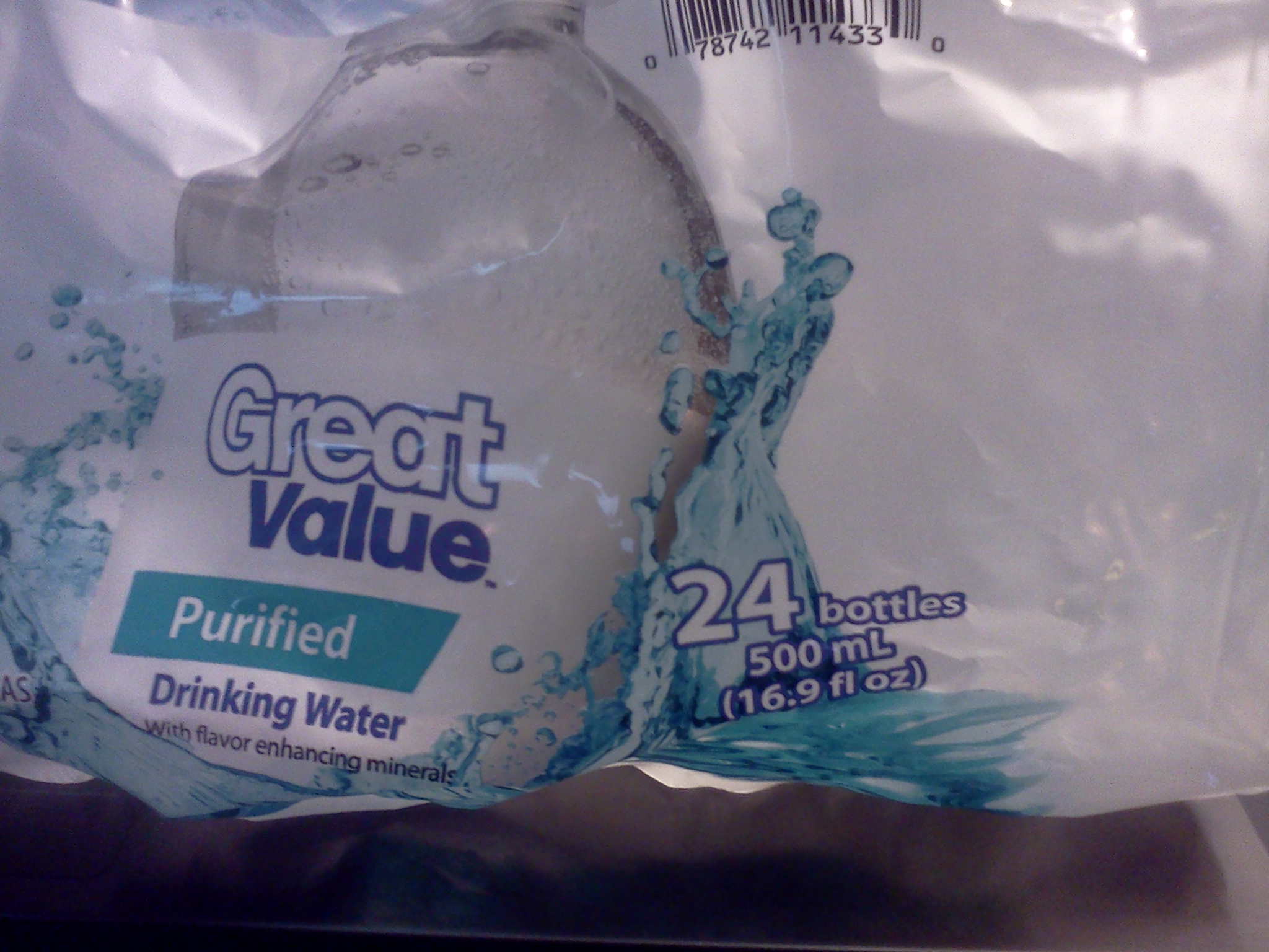 Walmart Great Value Purified Water 16.9 oz 24 count ...