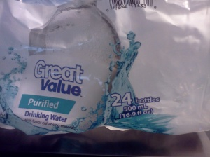 Great Value Purified Water 16.9 ounce bottles 24 count  picture of packaging label . Source: Kathy Brocks Photo