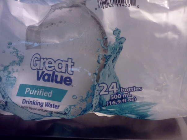 Great Value Purified Water 16.9 ounce bottles 24 count picture of packaging label