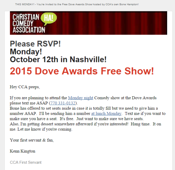 Reserve a seat at the Dove awards comedy show