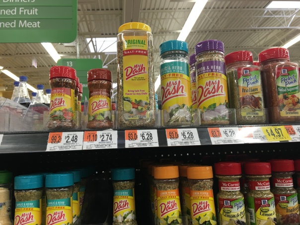 I pulled item forward so it could be clearly seen in the picture. Price show is $6.28 but told its $11.48 and smaller Mrs. Dash is $6.78 and not the price shown of $6.28.