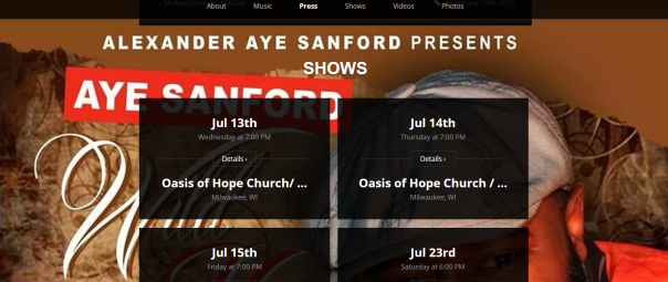 Good Example of making it super easy for fans to attend shows, http://ayesanford.com/