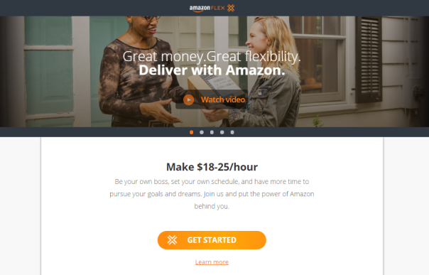 Source: Amazon Flex website showing promise to pay and encouragement to work for Amazon Flex.